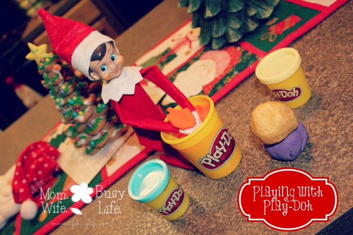 Elf on the Shelf Ideas Playing with Playdoh