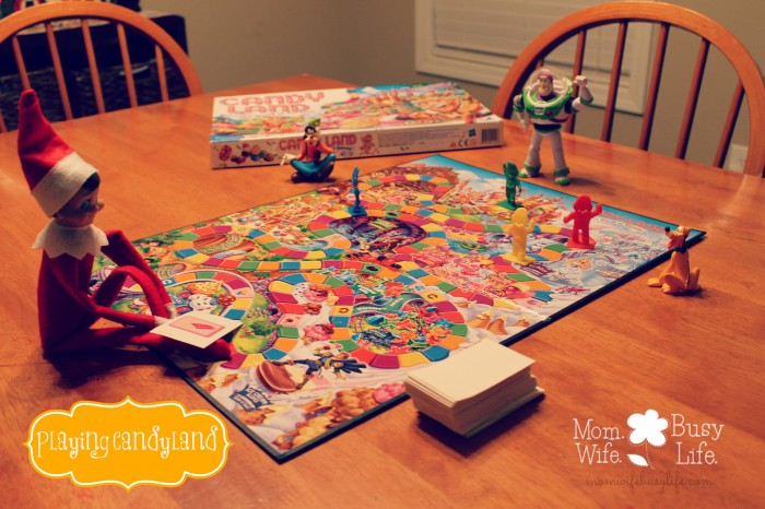 elf on the shelf ideas playing candy land