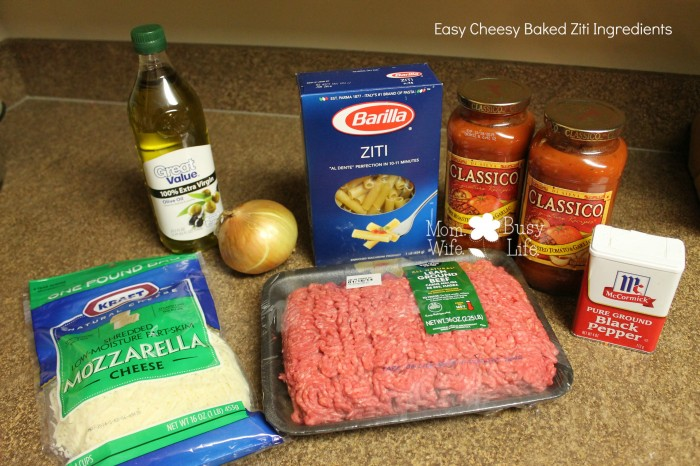 easy cheesy baked ziti ingredients