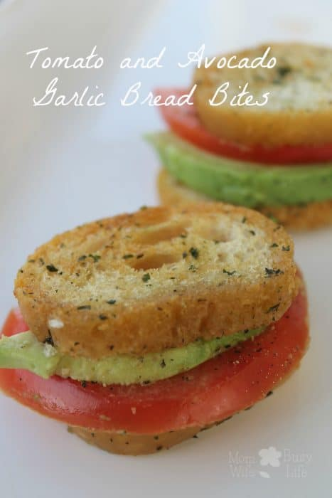 Tomato Avocado Garlic Bread Bites