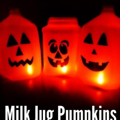 Halloween Craft Milk Jug Pumpkins