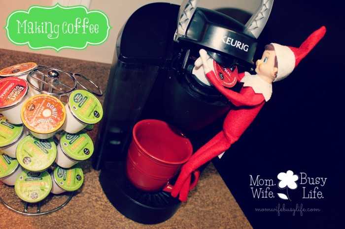 Elf on the Shelf ideas making coffee