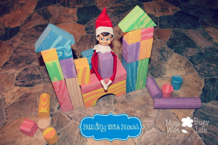 elf on the shelf ideas building with blocks