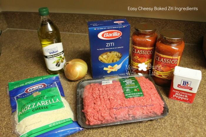 easy cheesy baked ziti ingredients