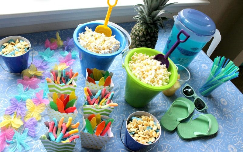 Indoor Beach Themed Movie Day for Kids
