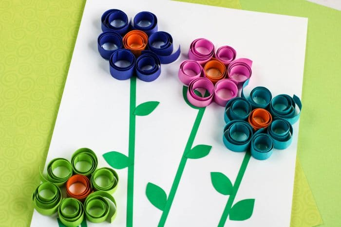 Curled Paper Spring Flower Craft for Kids