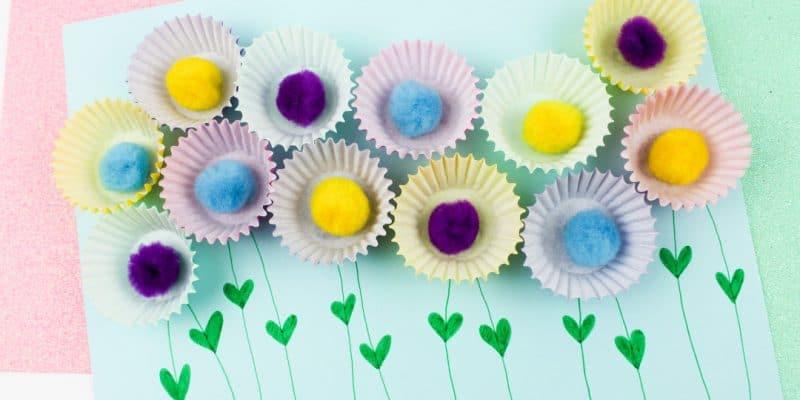 Cupcake Liner Pom Pom Flowers Craft