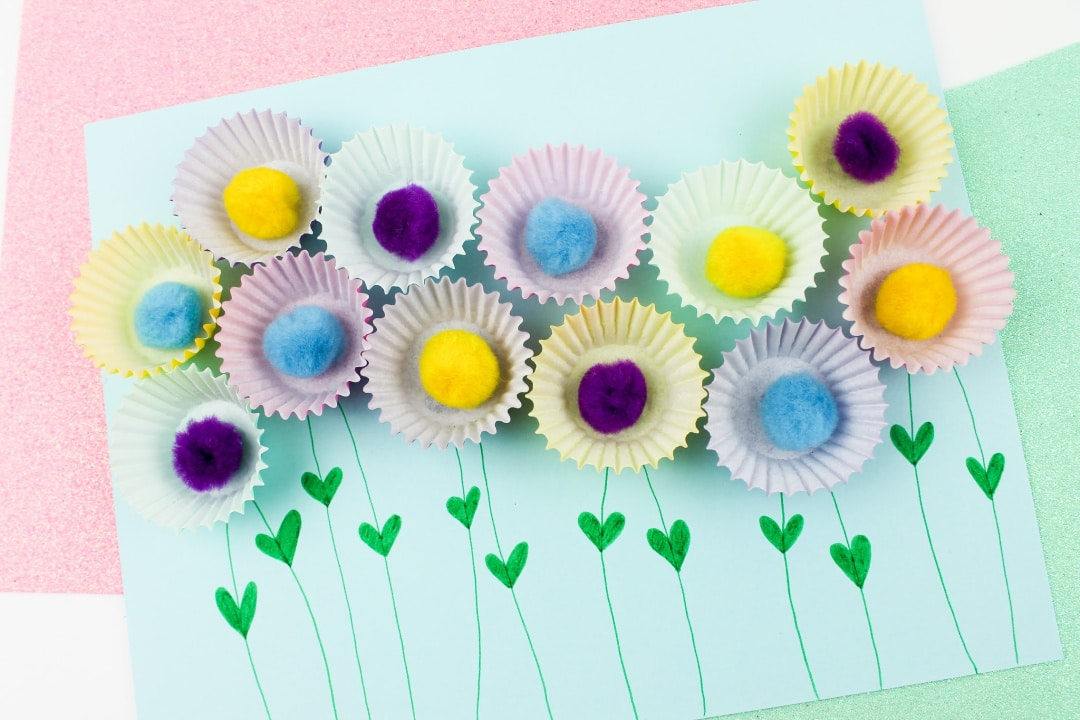 Cupcake Liner Pom Pom Flowers Craft