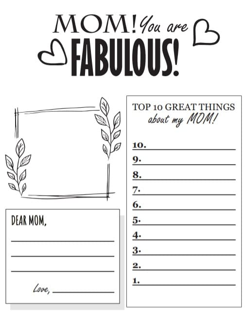 Free Mother's Day Printable - Mom! You are Fabulous!