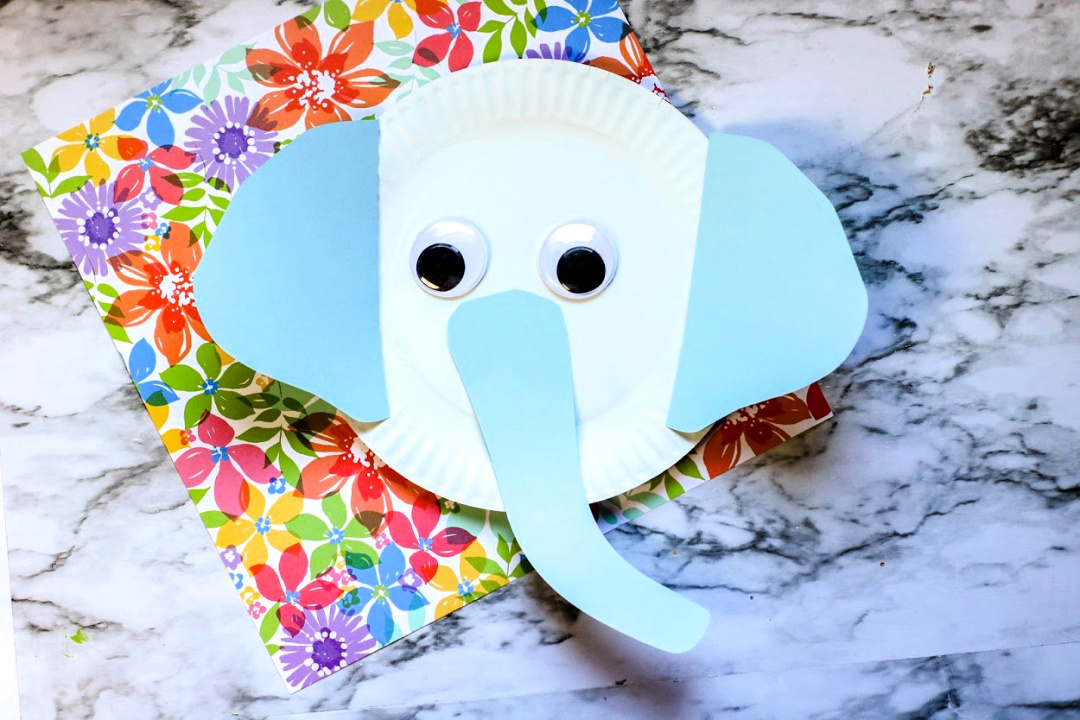 Paper plate elephant - zoo animal crafts for preschool