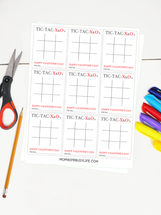 Printable Tic Tac Toe Valentine's Day Cards
