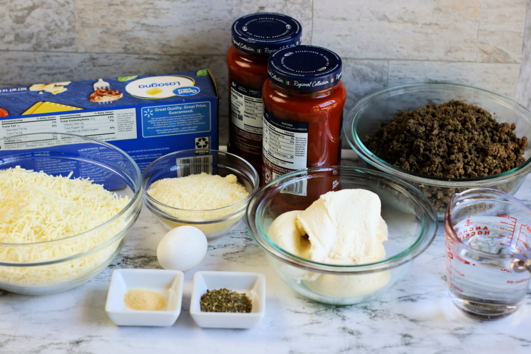 ingredients for meat lasagna