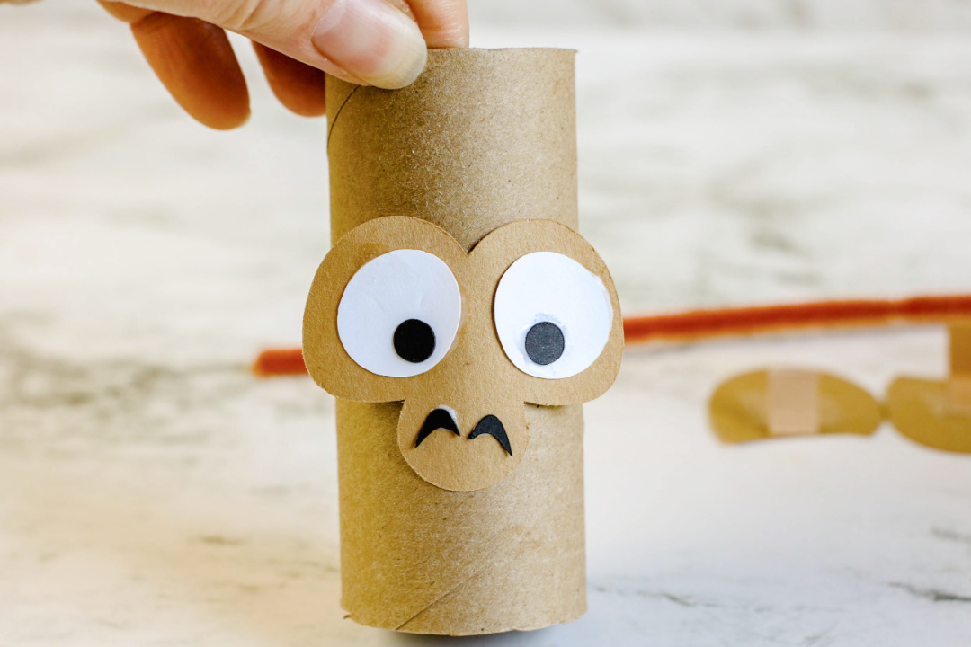 monkey face on toilet paper roll