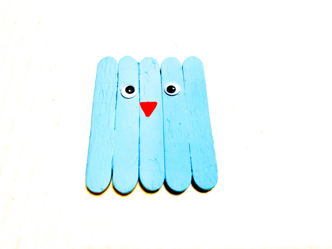 blue bird popsicle stick craft face