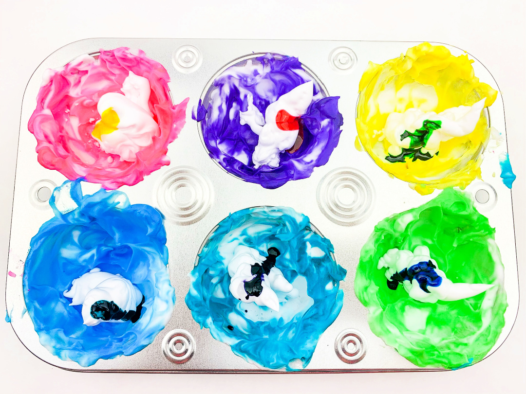 shaving cream and food coloring