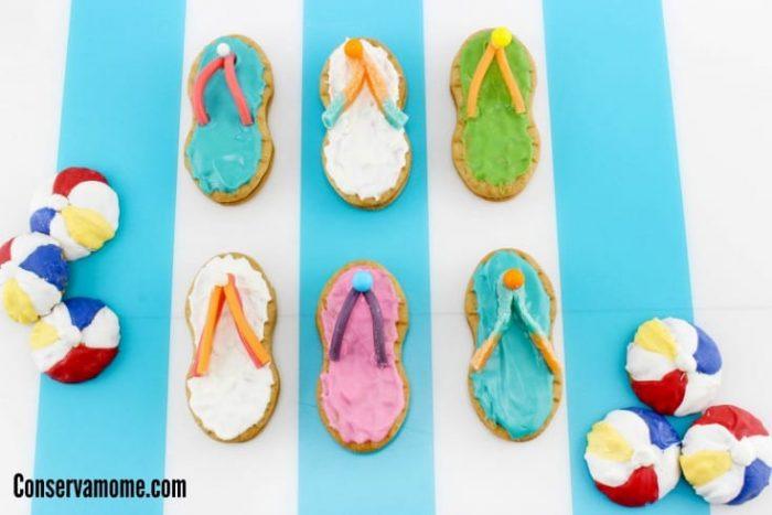flip flop and beach ball cookies
