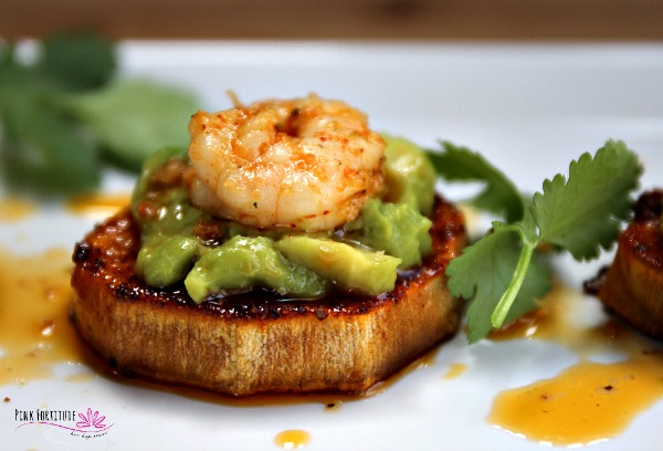 sweet potato bites with avocado and shrimp