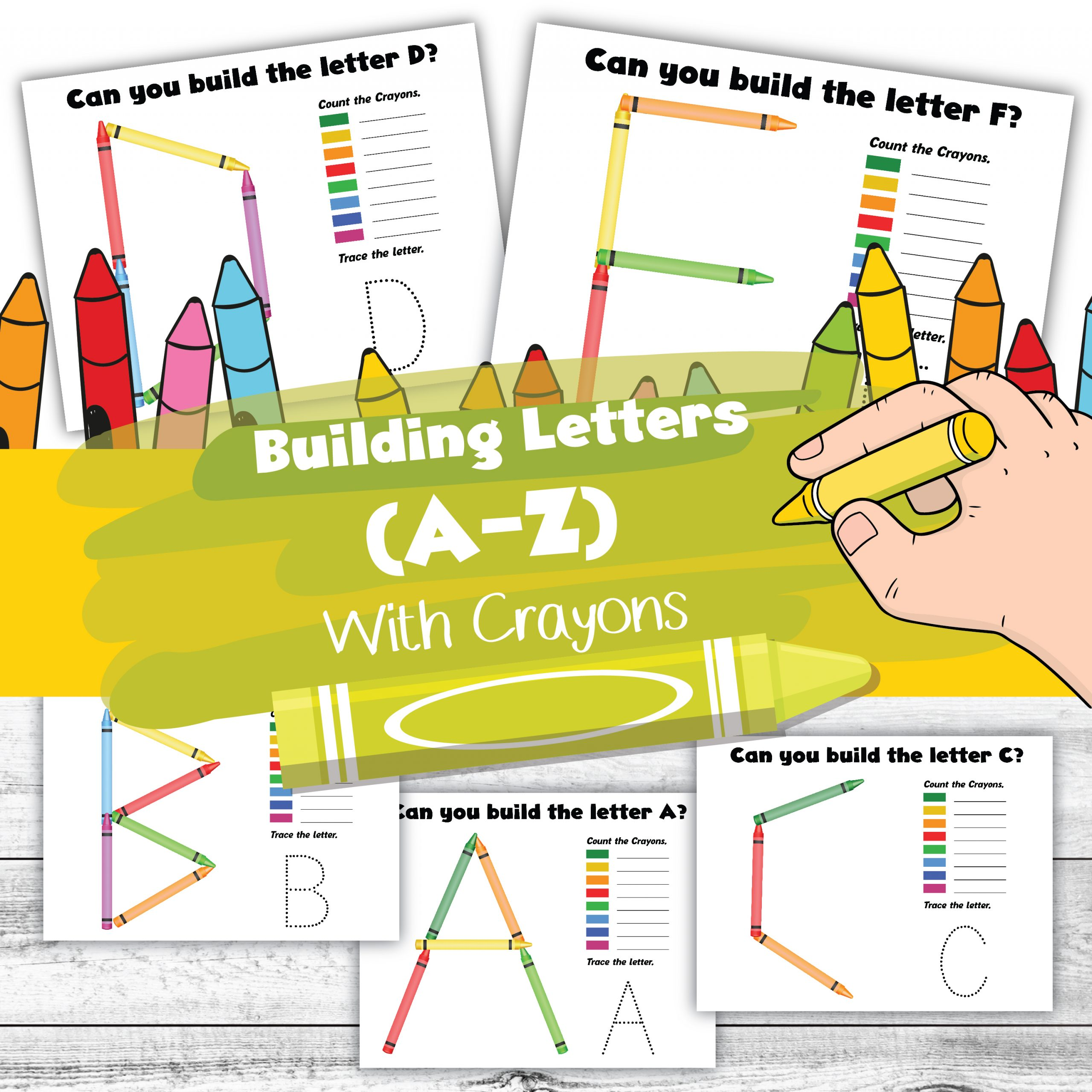 build the alphabet with crayons